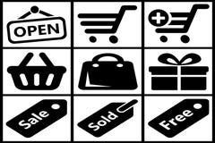 Συλλογή των μαύρων εικονιδίων αγορών Στοκ εικόνα με δικαίωμα ελεύθερης χρήσης