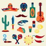 Συλλογή των μεξικάνικων εικονιδίων στο εγγενές ύφος ελεύθερη απεικόνιση δικαιώματος