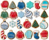 Συλλογή των μπισκότων μελοψωμάτων Χριστουγέννων Στοκ Φωτογραφίες