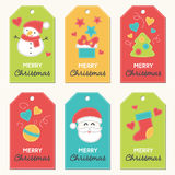 Συλλογή των νέων ετικεττών δώρων έτους και Χριστουγέννων απεικόνιση αποθεμάτων
