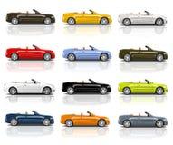 Συλλογή των πολύχρωμων τρισδιάστατων σύγχρονων αυτοκινήτων Στοκ Εικόνες