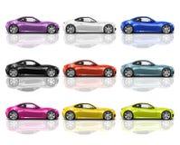 Συλλογή των πολύχρωμων τρισδιάστατων σύγχρονων αυτοκινήτων Στοκ εικόνες με δικαίωμα ελεύθερης χρήσης