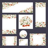 Συλλογή των προτύπων πρόσκλησης με τις απεικονίσεις φραουλών Στοκ εικόνες με δικαίωμα ελεύθερης χρήσης