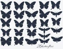 Συλλογή των σκιαγραφιών πεταλούδων Στοκ φωτογραφία με δικαίωμα ελεύθερης χρήσης