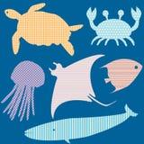 Σύνολο 2 σκιαγραφιών ψαριών με τα απλά σχέδια Στοκ Φωτογραφία