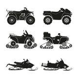 Συλλογή των σκιαγραφιών ATV Καθορισμένα ανώμαλα οχήματα Στοκ Φωτογραφίες