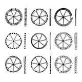 Συλλογή των στρογγυλών στοιχείων ύφους boho Εθνικό συρμένο χέρι μελάνι Στοκ Εικόνα