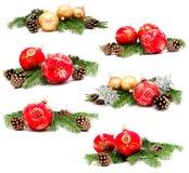 Συλλογή των σφαιρών διακοσμήσεων Χριστουγέννων φωτογραφιών Στοκ Φωτογραφίες