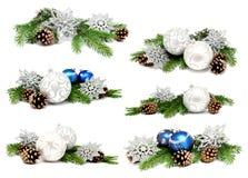 Συλλογή των σφαιρών διακοσμήσεων Χριστουγέννων φωτογραφιών Στοκ Εικόνες