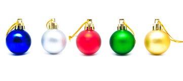 Συλλογή των τέλειων αναδρομικών σφαιρών Χριστουγέννων χρωμάτων που απομονώνεται Στοκ Φωτογραφίες
