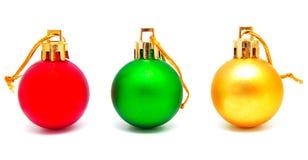 Συλλογή των τέλειων αναδρομικών σφαιρών Χριστουγέννων χρωμάτων που απομονώνεται Στοκ Εικόνες
