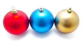Συλλογή των τέλειων σφαιρών Χριστουγέννων χρωμάτων που απομονώνεται Στοκ Εικόνα
