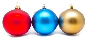 Συλλογή των τέλειων σφαιρών Χριστουγέννων χρωμάτων που απομονώνεται Στοκ φωτογραφία με δικαίωμα ελεύθερης χρήσης