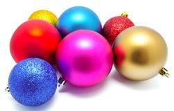 Συλλογή των τέλειων σφαιρών Χριστουγέννων χρωμάτων που απομονώνεται Στοκ φωτογραφίες με δικαίωμα ελεύθερης χρήσης