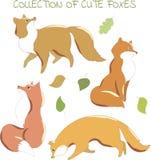 Συλλογή των χαριτωμένων αλεπούδων για το σχέδιο Στοκ Εικόνες