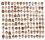 Συλλογή των χαριτωμένων και διαφορετικών προσώπων Στοκ Εικόνα