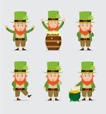 Συλλογή των χαριτωμένων κινούμενων σχεδίων leprechaun για Άγιο Πάτρικ Στοκ εικόνα με δικαίωμα ελεύθερης χρήσης