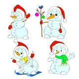 Συλλογή των χαριτωμένων χαρακτήρων χιονανθρώπων νέο έτος Χριστουγέννων Στοκ εικόνα με δικαίωμα ελεύθερης χρήσης