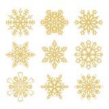 Συλλογή των χρυσών snowflakes εικονιδίων Στοκ φωτογραφία με δικαίωμα ελεύθερης χρήσης