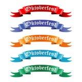 Συλλογή των χρωματισμένων κορδελλών με το κείμενο Oktoberfest Στοκ Φωτογραφίες