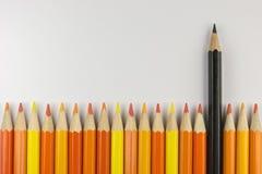 Συλλογή των χρωματισμένων ξύλινων μολυβιών στοκ φωτογραφία