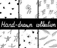 Συλλογή των hand-drawn άνευ ραφής μονοχρωματικών σχεδίων ελεύθερη απεικόνιση δικαιώματος