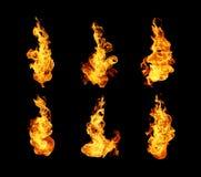 Συλλογή φλογών πυρκαγιάς που απομονώνεται στο μαύρο υπόβαθρο Στοκ Φωτογραφίες