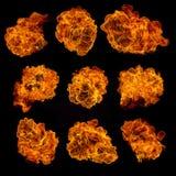 Συλλογή φλογών πυρκαγιάς στο μαύρο υπόβαθρο Στοκ Εικόνες