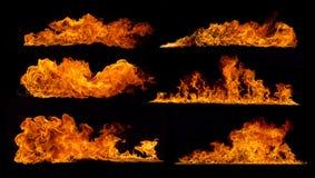 Συλλογή φλογών πυρκαγιάς στο μαύρο υπόβαθρο Στοκ εικόνα με δικαίωμα ελεύθερης χρήσης