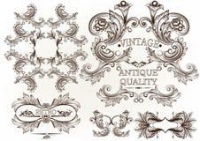 Συλλογή χαραγμένων των διάνυσμα πλαισίων στο παλαιό εκλεκτής ποιότητας ύφος Στοκ Φωτογραφία