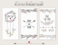 Συλλογή 3 χαριτωμένων προτύπων καρτών Στοκ Εικόνα