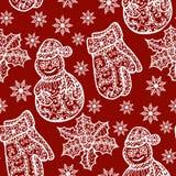 Συλλογή Χριστουγέννων Άνευ ραφής με τα εικονίδια Στοκ Φωτογραφία