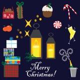 Συλλογή Χριστουγέννων με τα στοιχεία Στοκ εικόνα με δικαίωμα ελεύθερης χρήσης