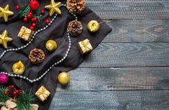 Συλλογή Χριστουγέννων, πέρα από το ξύλινο υπόβαθρο Στοκ εικόνα με δικαίωμα ελεύθερης χρήσης