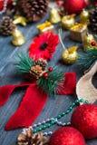 Συλλογή Χριστουγέννων, πέρα από το ξύλινο υπόβαθρο Στοκ εικόνες με δικαίωμα ελεύθερης χρήσης