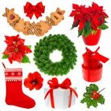 Συλλογή Χριστουγέννων που απομονώνεται στην άσπρη ανασκόπηση Στοκ Εικόνες