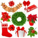 Συλλογή Χριστουγέννων που απομονώνεται στην άσπρη ανασκόπηση Στοκ εικόνα με δικαίωμα ελεύθερης χρήσης