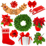 Συλλογή Χριστουγέννων που απομονώνεται στο άσπρο υπόβαθρο Στοκ Εικόνες