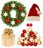 Συλλογή Χριστουγέννων που απομονώνεται στο άσπρο υπόβαθρο Στοκ Εικόνα