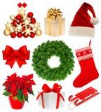 Συλλογή Χριστουγέννων που απομονώνεται στο άσπρο υπόβαθρο Στοκ εικόνες με δικαίωμα ελεύθερης χρήσης