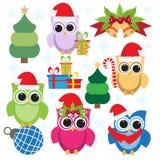 Συλλογή Χριστουγέννων των ζωηρόχρωμων κουκουβαγιών και των στοιχείων Στοκ φωτογραφία με δικαίωμα ελεύθερης χρήσης