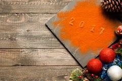 Συλλογή Χριστουγέννων, δώρα και διακοσμητικές διακοσμήσεις, Στοκ Εικόνες