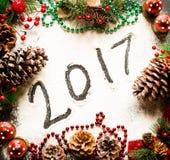 Συλλογή Χριστουγέννων, δώρα και διακοσμητικές διακοσμήσεις, Στοκ εικόνες με δικαίωμα ελεύθερης χρήσης