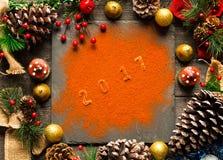 Συλλογή Χριστουγέννων, δώρα και διακοσμητικές διακοσμήσεις, Στοκ Φωτογραφίες