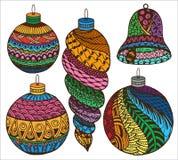 Συλλογή Χριστουγέννων Zentangle Στοκ φωτογραφία με δικαίωμα ελεύθερης χρήσης