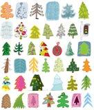 Συλλογή Doodle χριστουγεννιάτικων δέντρων Στοκ Εικόνες