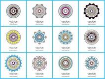 Συλλογή Mandalas Στρογγυλό σύνολο σχεδίων διακοσμήσεων Στοκ Εικόνες