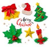 Συλλογή Plasticine των συμβόλων Χριστουγέννων Στοκ Εικόνες