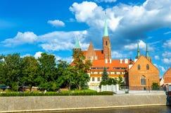 Συλλογική εκκλησία του ιερού σταυρού και του ST Bartholomew σε Wroclaw, Πολωνία Στοκ φωτογραφία με δικαίωμα ελεύθερης χρήσης