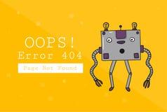 σφάλμα 404 βρήκε όχι τη σελίδα Πρότυπο σχεδίου με το κείμενο και το ρομπότ Απεικόνιση για έναν ιστοχώρο Ουπς το πρόβλημα της σύνδ διανυσματική απεικόνιση